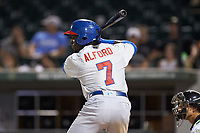 Anthony Alford (7) of the Buffalo Bison at bat against the Charlotte Knights at BB&T BallPark on August 14, 2018 in Charlotte, North Carolina. The Bison defeated the Knights 14-5.  (Brian Westerholt/Four Seam Images)