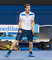 ANDY MURRAY (GBR)<br /> <br /> Tennis - Australian Open - Grand Slam -  Melbourne Park -  2014 -  Melbourne - Australia  - 16th January 2013. <br /> <br /> &copy; AMN IMAGES, 1A.12B Victoria Road, Bellevue Hill, NSW 2023, Australia<br /> Tel - +61 433 754 488<br /> <br /> mike@tennisphotonet.com<br /> www.amnimages.com<br /> <br /> International Tennis Photo Agency - AMN Images