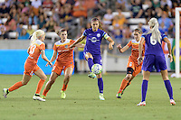 Houston, TX - Friday May 20, 2016: Orlando Pride forward Alex Morgan (13) plays the ball during a regular season National Women's Soccer League (NWSL) match at BBVA Compass Stadium.