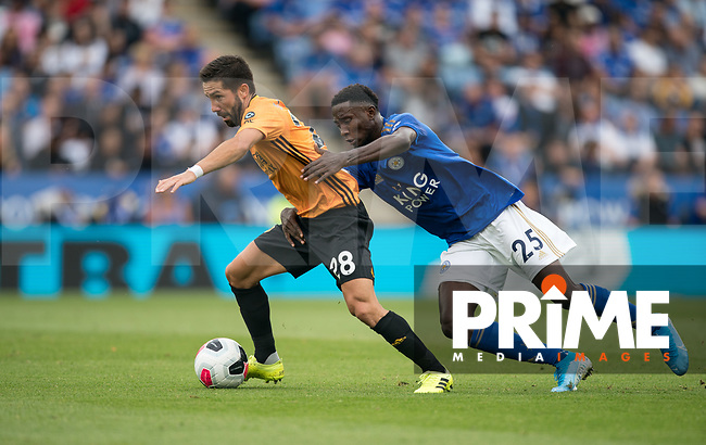 João Moutinho of Wolves & Wilfred Ndidi of Leicester City during the Premier League match between Leicester City and Wolverhampton Wanderers at the King Power Stadium, Leicester, England on 10 August 2019. Photo by Andy Rowland.