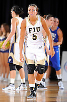 12 January 2012:  FIU guard Sasha Melnikova (5) waits on defense in the second half as the Middle Tennessee State University Blue Raiders defeated the FIU Golden Panthers, 74-60, at the U.S. Century Bank Arena in Miami, Florida.