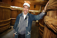 Ishii Miso vice-president, Kousuke Ishii, Ishii Miso, Matsumoto, Japan, May 19, 2009. The miso company, founded in 1868, uses Japanese soy beans and wooden barrels to make premium miso aged for up to three years.