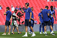 Alvaro Morata of Chelsea takes a selfie while looking around the Stadium during Chelsea vs Manchester City, FA Community Shield Football at Wembley Stadium on 5th August 2018