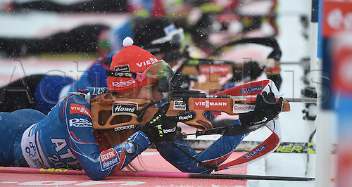 04.03.2016. Holmenkollen, Oslo, Norway.  Female Biathlete Gabriela Soukalova of Czech Republic in action during a training session at the Biathlon World Championships, in the Holmenkollen Ski Arena, Oslo, Norway, 04 March 2016.