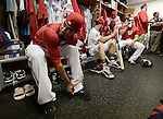 VIERA, FL-  FEBRUARY 26:  Ian Desmond of the Washington Nationals relaxes at his locker after practice during the Washington Nationals Spring Training at Space Coast Stadium in Viera, FL (Photo by Donald Miralle) *** Local Caption ***