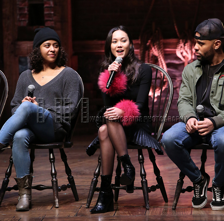 """Sasha Hollinger, Sabrina Imamura, Terrance Spencer during The Rockefeller Foundation and The Gilder Lehrman Institute of American History sponsored High School student #eduHam matinee performance of """"Hamilton"""" Q & A at the Richard Rodgers Theatre on December 5,, 2018 in New York City."""