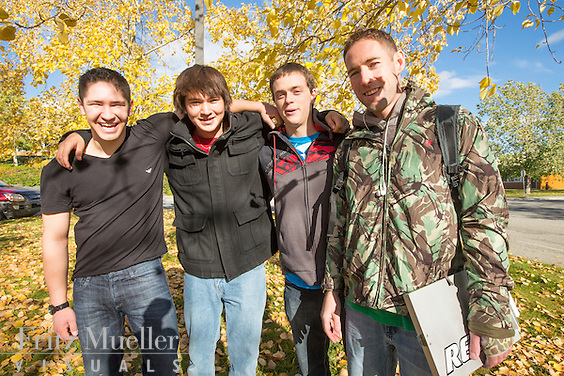 Yukon College students on campus in fall, Whitehorse, Yukon