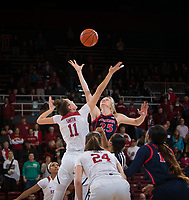 STANFORD, CA - February 22, 2019: Alanna Smith at Maples Pavilion. The Stanford Cardinal defeated the Arizona Wildcats 56-54.