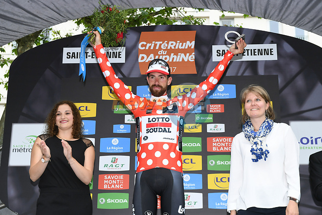 Thomas De Gendt (BEL) Lotto-Soudal wins Stage 1 and also goes into the mountains polka dot jersey of the Criterium du Dauphine 2017, running 170.5km from Saint Etienne to Saint Etienne, France. 4th June 2017. <br /> Picture: ASO/A.Broadway | Cyclefile<br /> <br /> <br /> All photos usage must carry mandatory copyright credit (&copy; Cyclefile | ASO/A.Broadway)