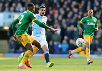 Blackburn Rovers' Joe Rothwell vies for possession with  Preston North End's Darnell Fisher<br /> <br /> Photographer Rich Linley/CameraSport<br /> <br /> The EFL Sky Bet Championship - Blackburn Rovers v Preston North End - Saturday 9th March 2019 - Ewood Park - Blackburn<br /> <br /> World Copyright © 2019 CameraSport. All rights reserved. 43 Linden Ave. Countesthorpe. Leicester. England. LE8 5PG - Tel: +44 (0) 116 277 4147 - admin@camerasport.com - www.camerasport.com
