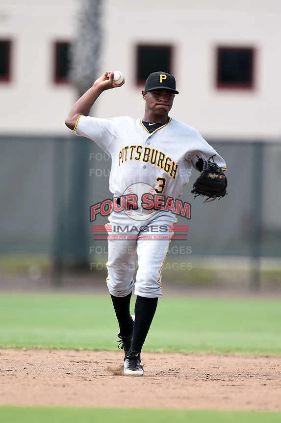 GCL Pirates shortstop Nelson Jorge (3) during practice before a game against the GCL Phillies on June 26, 2014 at the Carpenter Complex in Clearwater, Florida.  GCL Phillies defeated the GCL Pirates 6-2.  (Mike Janes/Four Seam Images)
