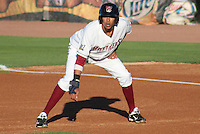 APPLETON - June 2012: Yadiel Rivera (13) of the Wisconsin Timber Rattlers, Class-A affiliate of the Milwaukee Brewers, during a game against the Quad Cities River Bandits on June 25, 2012 at Time Warner Cable Field at Fox Cities Stadium in Appleton, Wisconsin. (Photo by Brad Krause).