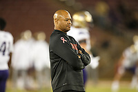 Stanford, CA - October 05, 2019: David Shaw, head coach, before the Stanford vs Washington football game Saturday night at Stanford Stadium.<br /> <br /> Stanford won 23-13.