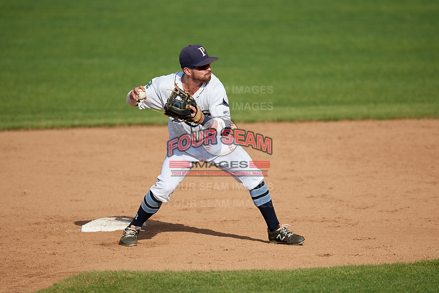 Princeton Rays second baseman Jake Palomaki (1) throws to first base to complete a double play during the first game of a doubleheader against the Johnson City Cardinals on August 17, 2018 at Hunnicutt Field in Princeton, Virginia.  Johnson City defeated Princeton 6-4.  (Mike Janes/Four Seam Images)