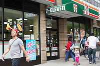 "A 7-Eleven store seen in the Upper West Side neighborhood in New York on Wednesday, May 23, 2012. 7-Eleven stores launch the sugar-free version of their slurpee called ""Slurpee Lite"". (© Frances M. Roberts)"