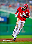 6 June 2009: Washington Nationals' outfielder Elijah Dukes rounds third after hitting a solo home run in the 4th inning against the New York Mets at Nationals Park in Washington, DC. The Nationals defeated the Mets 7-1, with Nats' starting pitcher John Lannan going the distance for his first career complete-game win. Mandatory Credit: Ed Wolfstein Photo