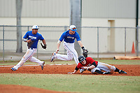 Illinois College Blueboys third baseman Taw Fredrickson (24) tags out Danny Appino (13) as shortstop Alex Lilly (12) backs up the play during a game against the Edgewood Eagles on March 14, 2017 at Terry Park in Fort Myers, Florida.  Edgewood defeated Illinois College 11-2.  (Mike Janes/Four Seam Images)