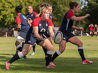 Hannah West warming up, U20 England Women v U20 Canada Women at Trent College, Derby Road, Long Eaton, England, on 26th August 2016