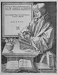Portrait of Erasmus by Albrecht Durer, 1526, German Renaissance engraving. Erasmus , writing as he stands at a lectern.