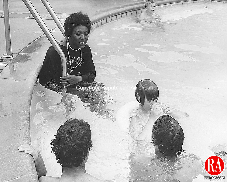"July 24, 1971 - WOODBURY - ""FUN DAY"" - It was a fun day for over 20 Camp Hi-Hopes children who took a field trip to the Foundation Hearth pool in Woodbury. The camp is operated by the Waterbury ARC and is aided by the Campership Fund. Republican-American Archives"