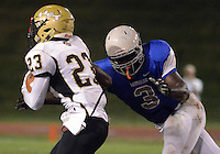 Bensalem's Salem Martin #3 chases down Truman's Justin Fant #23 in the third quarter at Bensalem High School Saturday September 19, 2015 in Bensalem, Pennsylvania.  (Photo by William Thomas Cain)