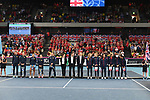 The teams line up during the opening ceremony. Rubber 1. World group II play off in the BNP Paribas Fed Cup. Copper Box arena. Queen Elizabeth Olympic Park. Stratford. London. UK. 20/04/2019. ~ MANDATORY Credit Garry Bowden/Sportinpictures - NO UNAUTHORISED USE - 07837 394578
