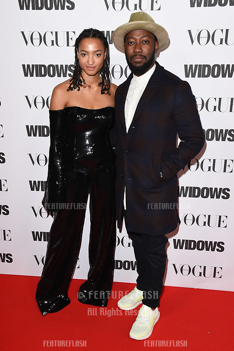 LONDON, UK. October 31, 2018: Magaajyia Silberfield &amp; Ashley Thomas at the &quot;Widows&quot; special screening in association with Vogue at the Tate Modern, London.<br /> Picture: Steve Vas/Featureflash