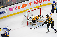 June 6, 2019: Boston Bruins goaltender Tuukka Rask (40) stops a shot by St. Louis Blues left wing David Perron (57)  during game 5 of the NHL Stanley Cup Finals between the St Louis Blues and the Boston Bruins held at TD Garden, in Boston, Mass. Eric Canha/CSM