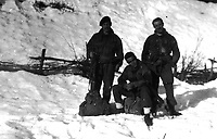 BNPS.co.uk (01202 558833)<br /> Pic: HannBooks/BNPS<br /> <br /> PICTURED: Galia troops in the snow behind enemy lines. (From left) Paratroopers Simpson, Ramos and Guscott<br /> <br /> Remarkable photos taken deep behind enemy lines by an SAS unit during a daring wartime operation have come to light on the 75th anniversary of the mission. <br />  <br /> The little-known Operation Galia on the 27th December 1944 involved just 33 SAS men hoodwinking the Nazis and their fascist allies into thinking a much greater force had landed behind them in Italy in December 1944.<br />  <br /> Adolf Hitler's forces had just launched a major surprise offensive in the Ardennes Forest in Belgium that became known as the Battle of the Bulge.<br /> <br /> Robert Hann, whose late father was SAS Paratrooper Stanley Hann, retraced his father's wartime experiences and part of his [father's] epic 80 mile long escape route through the Apennine mountains which the men took, to help him write the book 'SAS Operation Galia.'