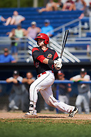 Batavia Muckdogs catcher Alex Jones (43) at bat during a game against the Tri-City ValleyCats on July 16, 2017 at Dwyer Stadium in Batavia, New York.  Tri-City defeated Batavia 13-8.  (Mike Janes/Four Seam Images)