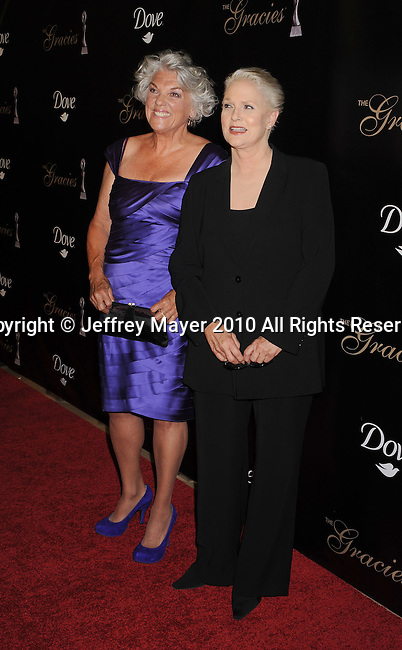 BEVERLY HILLS, CA. - May 25: Tyne Daly, Sharon Gless arrive at the 35th Annual Gracie Awards Gala at the Beverly Hilton Hotel on May 26, 2010 in Beverly Hills, California.
