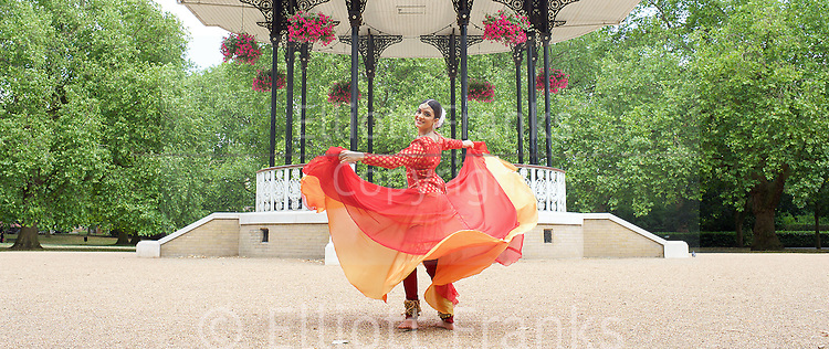Vidya Patel, winner of BBC Young Dancer of the Year South Asian category, is to appear as guest artist at the U.Dance Festival in at Plymouth Theatre Royal between 23-25 July 2015. An initiative of Youth Dance England, U.Dance is an annual event encouraging young people throughout England to get involved in dance. <br /> Southwark Park, London, Great Britain <br /> 24th June 2015 <br /> <br /> Vidya Patel <br /> <br /> <br /> <br /> Photograph by Elliott Franks <br /> <br /> Image licensed to Elliott Franks Photography Services