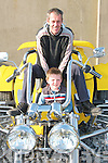 Thomas Nolan and his son Johnny from Lixnawtake a seat on one of the Ford Durite 1600 motorbikes on show in Lisselton on Saturday.......   Copyright Kerry's Eye 2008