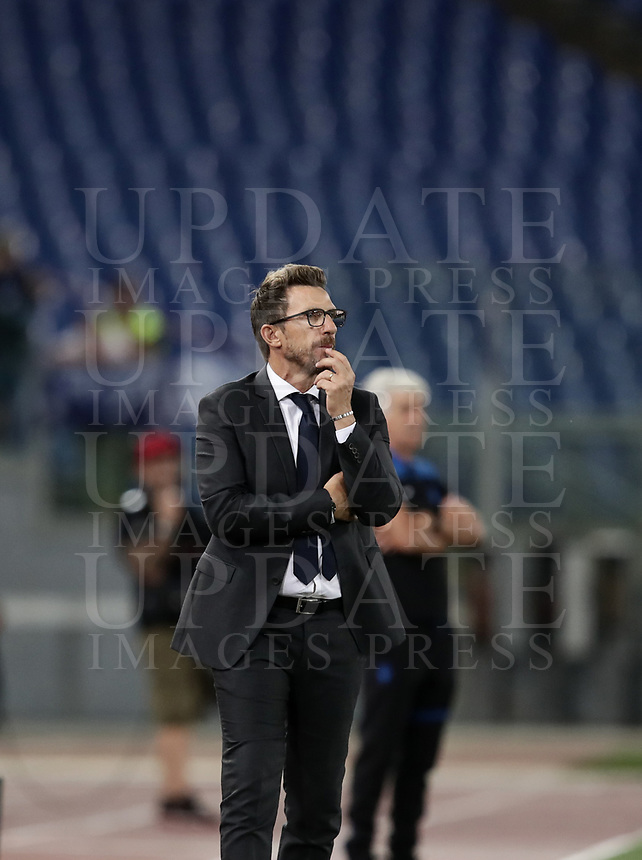 Calcio, Serie A: Roma - Atalanta, Stadio Olimpico, 27 agosto, 2018.<br /> Roma's coach Eusebio Di Francesco speaks looks on during the Italian Serie A football match between Roma and Atalanta at Roma's Stadio Olimpico, August 27, 2018.<br /> UPDATE IMAGES PRESS/Isabella Bonotto