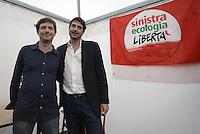 Roma, 4 Ottobre 2014<br /> Piazza Santi Apostoli<br /> Manifestazione di Sinistra, Ecologia e Libertà per una nuova politivca economica, contro l'austerity.<br /> Nicola Fratoianni e Giuseppe Civati, Partito democratico.