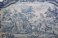 Horse and carriage, from scenes of the history of the monastery and the Siege of Lisbon in 1147, traditional blue and white azulejos tile scene, 18th century, in the Monastery of Sao Vicente de Fora, an Augustinian order monastery and church built in the 17th century in Mannerist style, Lisbon, Portugal. The monastery also contains the royal pantheon of the Braganza monarchs of Portugal. Picture by Manuel Cohen