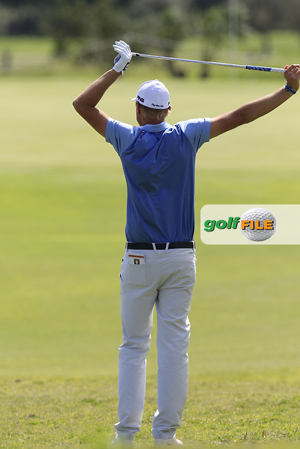 Adrian Meronk (POL) waits to play his 2nd shot on the 1st hole during Saturday's Round 3 of the Open de Portugal 2017 at Morgado Golf Resort, Portimao, Portugal. 13th May 2017.<br /> Picture: Eoin Clarke | Golffile<br /> <br /> <br /> All photos usage must carry mandatory copyright credit (&copy; Golffile | Eoin Clarke)