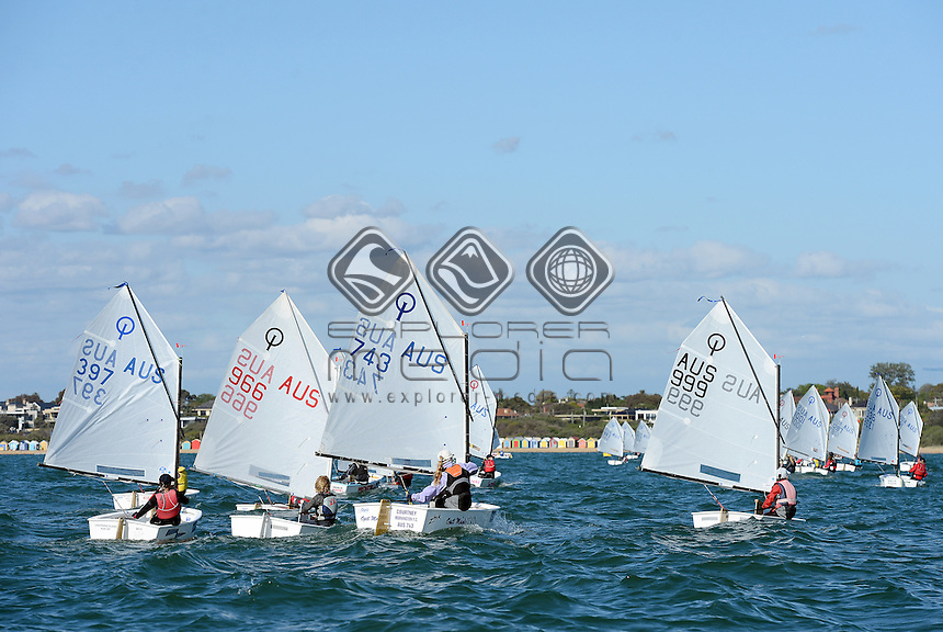 Optimist / FLEET RACING ACTION<br /> 2013 ISAF Sailing World Cup - Melbourne<br /> Sail Melbourne - The Asia Pacific Regatta<br /> Sandringham Yacht Club, Victoria<br /> December 1st - 8th 2013<br /> © Sport the library / Jeff Crow
