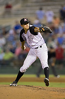 Kannapolis Intimidators relief pitcher Tyler Johnson (22) in action against the Columbia Fireflies at Kannapolis Intimidators Stadium on July 22, 2017 in Kannapolis, North Carolina.  The Fireflies defeated the Intimidators 4-0.  (Brian Westerholt/Four Seam Images)