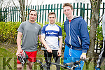 Stephen Hollins Jack O'Grady and Conchuir Lynch at the South Campus ITT  triathlon on Monday