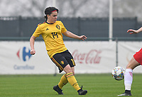 20190409 - TUBIZE , Belgium : Belgian Kaily Dhondt pictured during a women soccer game between the under 19 teams of Belgium and Poland. This is the Third and final game in their elite round qualification for the European Championship in Schotland 2019. The Belgian national women's soccer team is called the Red Flames, on the 9 th of April in Tubize. PHOTO DAVID CATRY | Sportpix.be