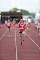 International athletics at Cardiff International stadium, Cardiff, South Wales - Tuesday 15th July 2014<br /> <br /> Lucy Evans (1) of Wales winning the Women's 4x100 final race. <br /> <br /> <br /> Photo by Jeff Thomas Photography