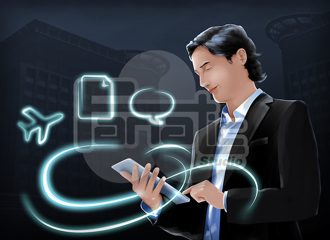 Illustration of businessman using internet on digital tablet