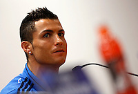 Real Madrid's forward Cristiano Ronaldo attends a press conference ahead of the Champions League round of 16 first leg football match against Roma, at Rome's Olympic stadium, 16 February 2016.<br /> UPDATE IMAGES PRESS/Riccardo De Luca