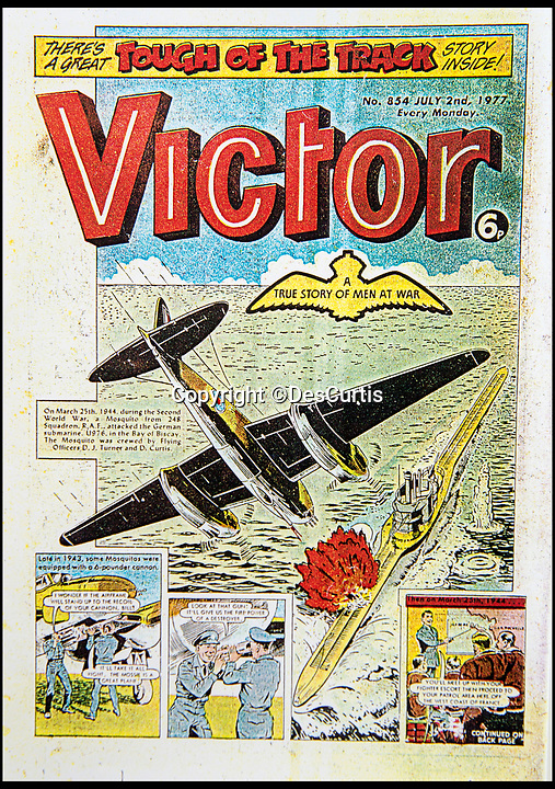 BNPS.co.uk (01202 558833)Pic: DesCurtis/BNPS<br /> <br /> Des Curtis's attack on U-976 was even immortalised in Victor magazine in the 1970's<br /> <br /> Living History - RAF hero reveals an unlikely friendship with the U-Boat captian he sunk!<br /> <br /> Former RAF Navigator Des Curtis(94) from Poole in Dorset - Won his DFC after sinking a German U-Boat off St Nazaire in March 1944, but later became a lifelong friend of its Captain Raimond Teisler.<br /> <br /> An RAF hero has told of how he memorably sunk a German U-Boat 75 years ago - then years later became unlikely friends with its commander.<br /> <br /> Flight Lieutenant Des Curtis was just 20 years old when he took part in the daring attack on U-976 south west of St Nazaire on the Atlantic coast of France on March 25, 1944.<br /> <br /> He was the navigator in a Mosquito armed with a 6-pounder gun which took out the submarine while evading anti-aircraft fire from minesweepers and shelling from the shore batteries.<br /> <br /> Four of the U-Boat's 53 man crew were killed in the attack which was later immortalised on the front page of the boy's own adventure magazine 'Victor'. <br /> <br /> Yet, remarkably, almost 50 years later, Flt Lt Curtis became pen pals with the U-976's Kommandant Raimond Teisler.<br /> <br /> They eventually met up in Germany, with Raimond also visiting Flt Lt Curtis in England before his death five years ago.