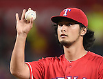 Yu Darvish (Rangers),<br /> SEPTEMBER 30, 2016 - MLB :<br /> Starting pitcher Yu Darvish of the Texas Rangers reacts during the Major League Baseball game against the Tampa Bay Rays at Globe Life Park in Arlington in Arlington, Texas, United States. (Photo by AFLO)