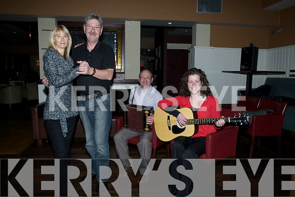 STEPS: Keeping in Step were nCarolyn and Paddy Hanafin in prepartation for the Shindig Festival, in The Ballyroe Heights Hotel on 21st to 23rd January 2011. In background were, Fiona Geary(guitar) and Jack Keating on (music box)...T..i.............. .. .............................................................. ....................