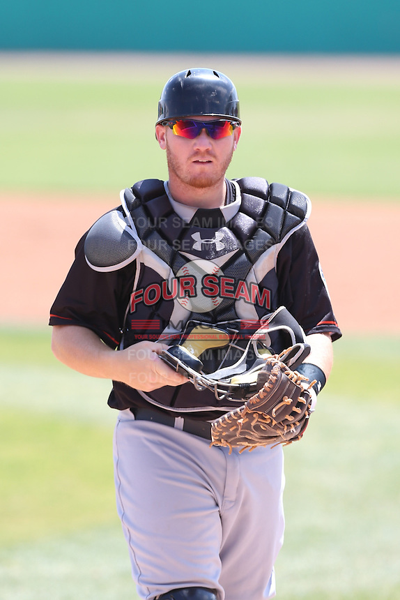 Tyler Marlette (30) of the Bakersfield Blaze in the field during a game against the High Desert Mavericks at Mavericks Stadium on May 18, 2015 in Adelanto, California. High Desert defeated Bakersfield, 7-6. (Larry Goren/Four Seam Images)