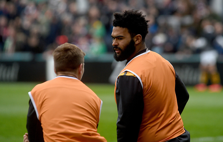 Wasps' Nizaam Carr during the pre match warm up<br /> <br /> Photographer Hannah Fountain/CameraSport<br /> <br /> Gallagher Premiership - Leicester Tigers v Wasps - Saturday 2nd March 2019 - Welford Road - Leicester<br /> <br /> World Copyright © 2019 CameraSport. All rights reserved. 43 Linden Ave. Countesthorpe. Leicester. England. LE8 5PG - Tel: +44 (0) 116 277 4147 - admin@camerasport.com - www.camerasport.com