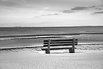 West Beach, Seaside Avenue,  Westbook, CT. Bench with snow in winter.